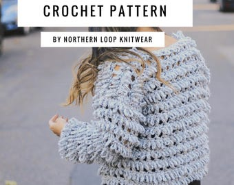 Crochet Pattern / Textured Shag Loop Cardigan Jacket / Intermediate