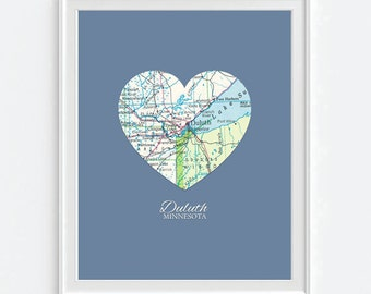 Duluth Minnesota Heart Vintage Map ART PRINT City map art, state map gift, housewarming, moving, christmas gift for her, wedding gift