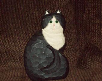 Wooden Cat Folk Art /Art Deco Figure