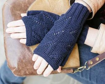 Hand knitting gloves knit women mittens blue for her