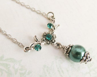 Teal bridesmaid necklace, teal pearl necklace, vintage style wedding jewelry, junior bridesmaid gift, flower girl necklace