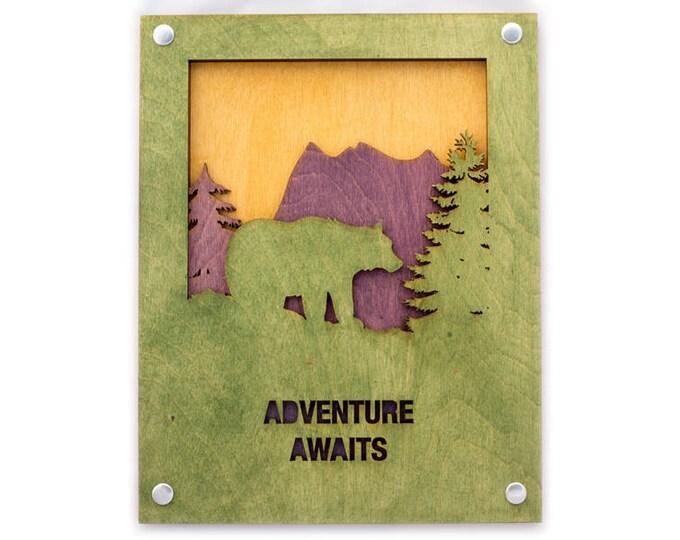 Rustic Wall Art - Mountain Wall Decor - Bear Scene - Mountain Decor - Mountain Home Art - Bear Art - Adventure Art - Nature Lover Gift