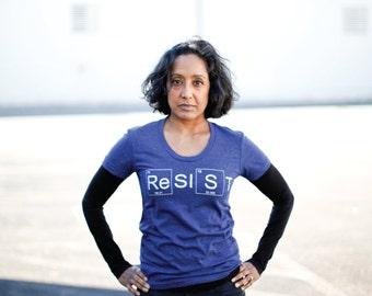 RESIST Feminist Shirt, Activist Gift for Women, Feminism Screen Print Science Tshirt, BLACKBIRDSUPPLY SALE, Blue Graphic Tee