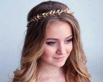 Gold leaf hair vine-Gold leaf wedding hair vine-gold leaf bridal hair vine-gold leaf weddding headband-gold leaf wedding crown- Boho brides
