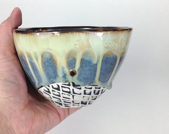 Porcelain Tea Bowl in Blue and Green Crystalline Glaze, Hand Built Cup for Matcha Tea, Ice Cream, and Important Stuff. 3.25 tall Food Safe