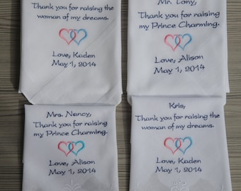 Wedding handkerchief   Personalized wedding handkerchief   parents of the bride gifts   wedding handkerchief set   handkerchief   hankies
