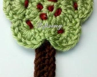 3 Crochet tree Appliques Handmade