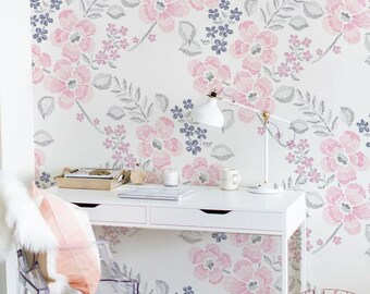 Superior Minimalist Floral Wallpaper, Geometric Drawing Wallpaper, Removable Or  Traditional Wallpaper, Nursery Wall Mural