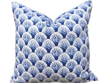Blue and White Cotton Pillow Cover with Corral Print.