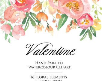 Watercolour Flower Clipart - Valentine - Floral, Hand painted Elements Download