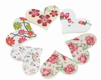 """10 Multi Colored Heart Shaped Roses and Flowers Design Painted Wooden Buttons 1 1/4"""" for Sweaters or Crafts"""