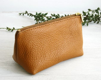 SMALL LEATHER POUCH - Small Tan Leather Clutch - Leather Toiletry Bag - Small Camel Brown Bag - Leather Makeup Bag - Leather Cosmetic Bag