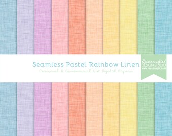 Seamless Pastel Rainbow Linen Digital Paper Set - Personal & Commercial Use