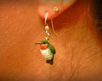OOAK Handsculpted Hummingbird Earrings