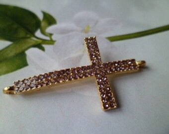 1 connector gold Cross and rhinestone Rose 4.2 cm