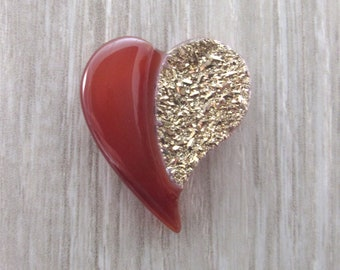 Heart Shaped Carnelian Chalcedony & Gold Druzy Cabochon - drilled