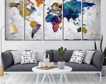 Push pin map etsy push pin travel map of world vintage map push pin map push pin gumiabroncs Gallery