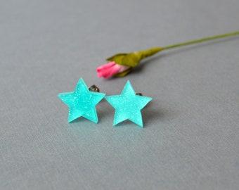 Stud earrings, post earrings, blue star post minimalist earrings, gift for her under 10 dollar, minimalist earrings, star earring, celestial
