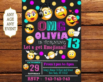 Emoji Birthday Invitation, Emoji Icons Chalkboard Birthday Party Invite,Emoji Birthday, Emoji Party,Emoji Printable, Emoji Card 169