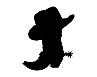 Cowboy Hat Boot Western Silhouette Cutting File Clipart Scrapbooking SVG DXF jpg png psd Sure Cuts a Lot Inkscape, Photoshop Element Vector