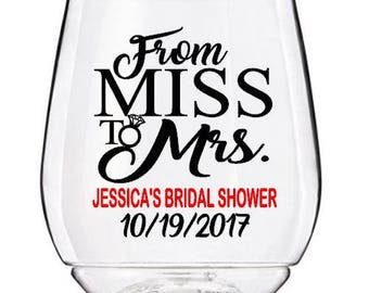 Bridal Shower Wine Glass Cups, From Miss to Mrs Wedding Wine Glass Cup, Personalized Bachelorette Wine Glass Cup