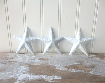 "3 Shabby White Mica glitter stars metal stars 3 1/2"" Christmas ornament Cottage chic home decor"