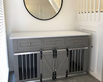 Rustic Dog Crate With Drawers   Sliding Barn Doors / Crate With Storage /  Dog House / Rustic Furniture / Farmhouse Pet / Dog Kennel