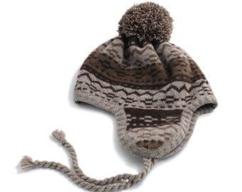 Yak Down Earflap Hat Mongolian Wool Hat Winter Hat Pom pom Hat with Pattern