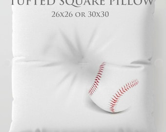 STUFFED Pillow-Baseball Floor Pillow-Sports Decor-Round Floor Pillow-Baseball Decor-Floor Cushion-Kids Floor Pillow-Minimalist Decor