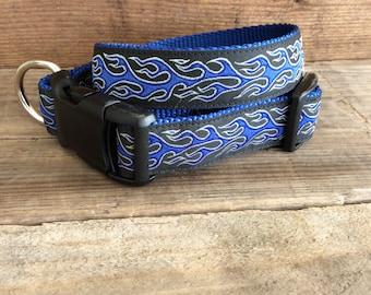 Blue Flames Dog Collar