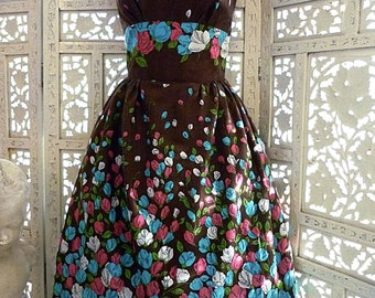 50s style roses border print full skirt sundress. Genuine vintage 50s fabric & pattern. Newly made by Red Ruby Originals. Small size. OOAK
