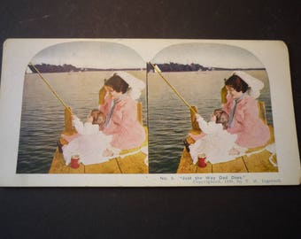 1899 Just Like Dad Stereopticon Stereoscope Color Slide - View Master, Retro Very Good Condition 3D optics - T W Ingersoll photographer