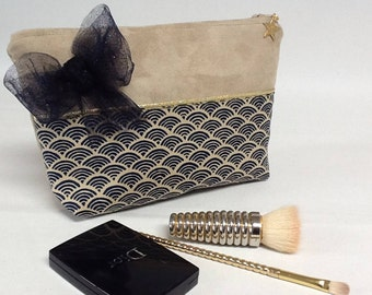 Japanese fabric make-up with bow/suede makeup bag and bow/pouch gold/jewelry pouch/Japanese fabric