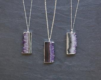 Amethyst Necklace / Raw Amethyst Pendant / Silver Amethyst Necklace / February Birthstone / Gemstone Necklace / Gift for Mom