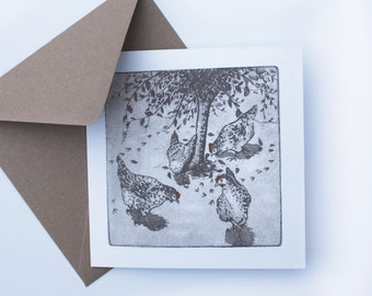 Hen Card- Greetings Card - Christmas Card