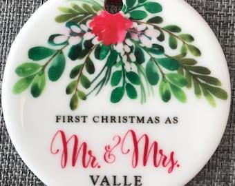 Married Wedding Christmas Ornament Personalized, Ornaments Just Married Personalized Ornament, Our First Christmas Tree Ornament Gay Wedding