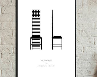 C. R. Mac Poster. Hill House Chair poster. Typographical printing. Scandinavian style. Gift Idea. Nordic style. Furnish with prints.