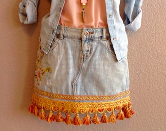Cherry blossom embroidered/embellished, BoHo chic, upcycled, one of a kind beautiful/pretty denim mini skirt