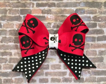 red bow, skull and crossbones, baby bow, toddler bow, girls bow, hair accessories, accessories, punk style, fashion bows