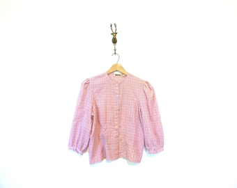 1960s Vintage Plaid Cotton Button Up Blouse / Prairie Style Country Blouse