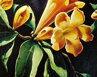 Yellow Trumpet Flower Acrylic Painting by Michelle C East