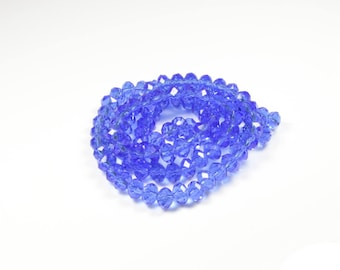 20 glass Abacus faceted Blue 6 x 4mm beads