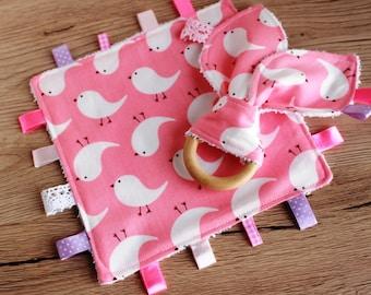 New baby girl gift, Taggie blanket, Baby teether, Security blanket, Teething blanket, Bunny ear teether, Sensory blanket, Baby Teething toy