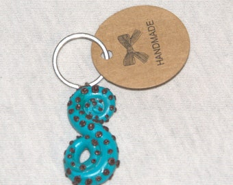 Unique polymer clay tentacle keychain
