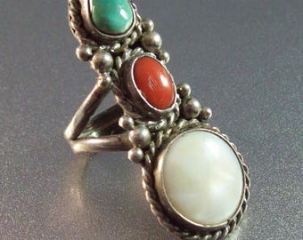 Native American Sterling Ring, Southwestern Turquoise Coral MOP, Knuckle Length