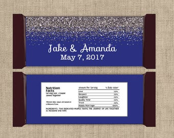 12 Personalized Silver Sparkle and Royal Blue Large Hershey Candy Bar Wrappers - wedding candy bar wrapper - Other Colors available