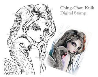 Flame In Black - Digital Stamp Instant Download / Fantasy Art by Ching-Chou Kuik