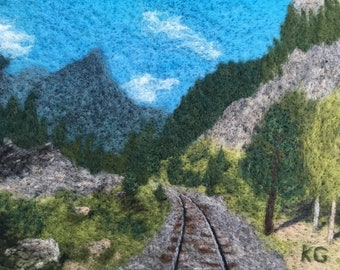Durango-Silverton Railroad - Felted wool landscape from Colorado Trail, perfect wall art for hiker, backpacker, or mountain biker