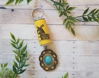 3 Blind Moose Cork / Key Chain / Cork Key Ring / Moose Cork / Wine Lover Gift / Wine Gift / Turquoise Gem / 21st Birthday / PaperFlowerVT