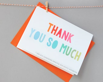 Thank You So Much Card - Mother's Day Card - Father's Day Card- Thank You Card - Appreciation Card